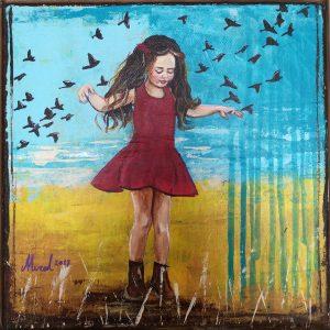 kuslarla dans eden kız