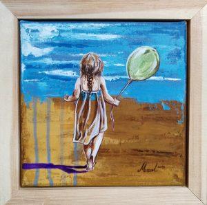 sahilde balonlu kız