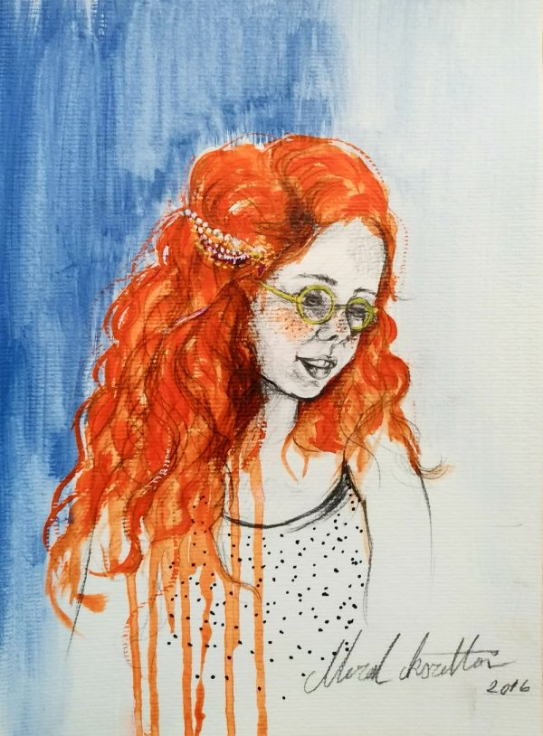 turuncu saclı kız
